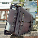 Handcrafted Genuine Vegetal Leather Brown Motorcycle Left Side Saddle Bag - Universal Swingarm Bag with Flask