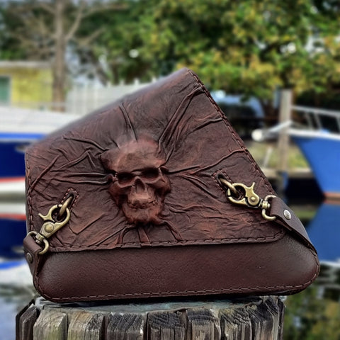 Handcrafted Genuine Vegetal Leather Brown Skull Motorcycle Right Side Saddle Bag - Universal Swingarm Bag with Skull Design