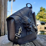 Handcrafted Genuine Leather Skull Motorcycle Right Side Saddle Bag - Universal Swingarm Bag with Skull Design