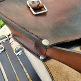 Handcrafted Brown Embossed Leather Left Side Saddle Bag - Universal - Harley Davidson Swingarm Bag