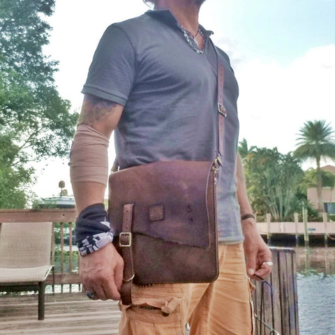 Handcrafted Genuine Vegetal  Rustic Brown Leather Postman Shoulder Bag - Shoulder bag - Sandle Bag