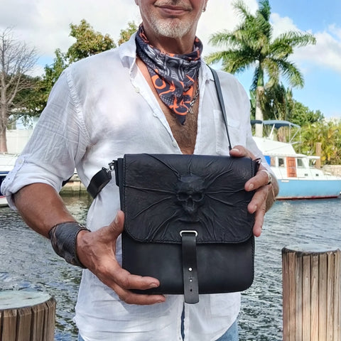 Handcrafted Genuine Vegetal  Rustic Black Leather Postman Shoulder Bag with a Skull Design - Shoulder bag - Sandle Bag