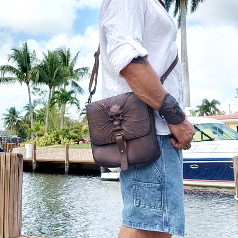 Handcrafted Genuine Vegetal  Rustic Brown Leather Postman Shoulder Bag with a Skull Design - Shoulder bag - Sandle Bag