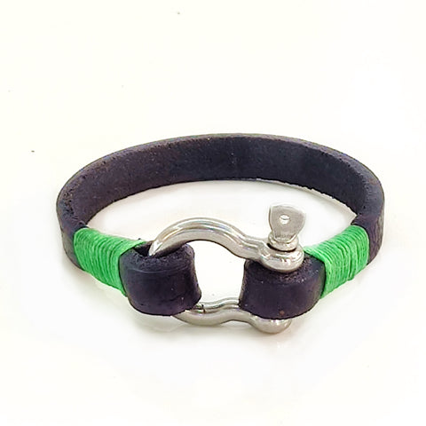 Handcrafted Small Black Genuie Leather Unisex Marine Style Fashion Bracelet-Cuff -  Stainless Shackle design bracelet
