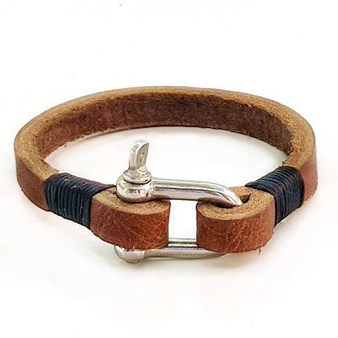 Handcrafted Brown Genuie Leather Unisex Marine Style Fashion Bracelet-Cuff -  Stainless Shackle design bracelet