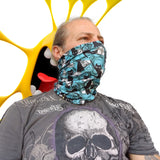 Neck Gaiter - Face Mask - Coolmax - Felix - Blue Bandana - Sports Bandana - Running Gaiter