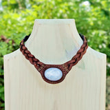 Boho Handcrafted Genuine Leather Choker with White Agate - Quality Unisex Fashion Leather Jewelery