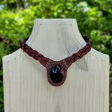 Boho Handcrafted Genuine Leather Choker with Onyx Setting - Quality Unisex Fashion Leather Jewelery