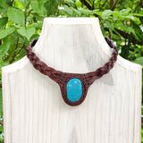 Boho Handcrafted Genuine Leather Choker with Turquoise Stone - Quality Unisex Fashion Leather Jewelery