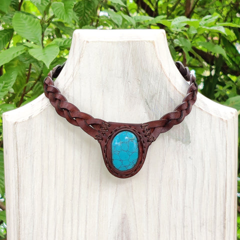 Boho Leather Choker with Turquoise Stone