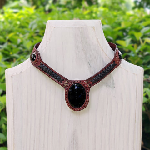 Boho Handcrafted Genuine Leather Choker with Black Agate Stone Settin - Quality Unisex Fashion Leather Jeweleryg
