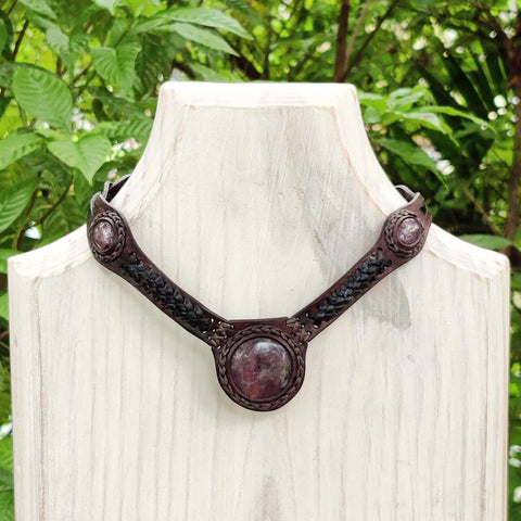 Boho Handcrafted Genuine Leather Choker with  Amethyst Stone - Quality Unisex Fashion Leather Jewelery
