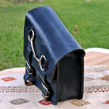 Handcrafted Black Leather Motorcycle Left Side Saddle Bag - Universal - Harley Davidson Swingarm Bag