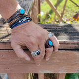 Handcrafted Boho Leather Ring with Turquoise Stone Setting - Fashion Design Ring Size 8