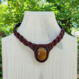 Boho Handcrafted Genuine Leather Choker with Tiger Eye Stone Setting - Quality Unisex Fashion Leather Jewelery