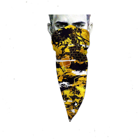 Unique Neck Gaiter - Triangle Face Mask - Hive - Yellow Face Mask - Biker Bandana - Design Scarf