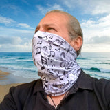 Notes Coolmax Active Bandana - Gray Bandana - Sports Bandana - Running Neck Gaiter - Gaiter Scarf - Neck Warmer