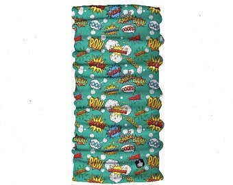 Kids Neck Gaiter - Face Mask - Comic Kids Bandana - Green Bandana - Neck Gaiter - Headscarves - Mask For Kids