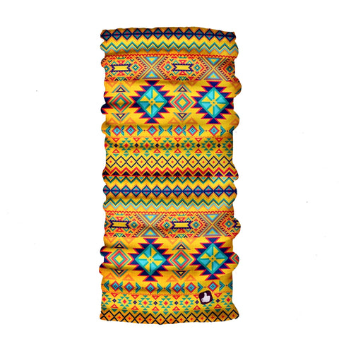 Ethnic Yellow Bandana - Seamless Tube - Neck Gaiter - Face Mask - Scarf - Quality Bandana