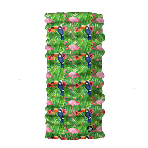 Tropic Flamingo - Green Bandana - Head Scarves - Hair Bandana - Neck Gaiter - Hair Scarf - Bandanna