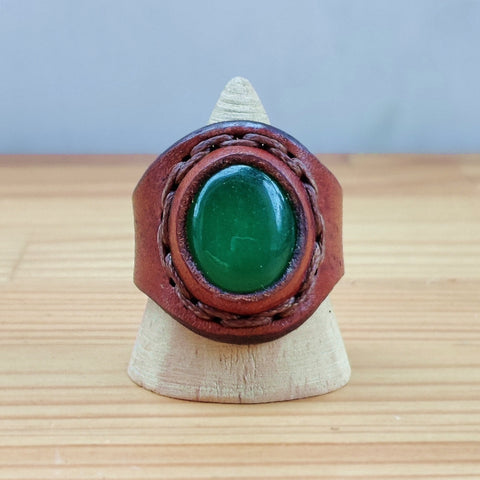 Handcrafted Brown Leather Ring -  Fashion Jewelery -  Men and Women -  Handmade Ring