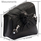 Handcrafted Black Leather Motorcycle Right Side Saddle Bag - Leather Solo Swingarm Bag with Skull Design