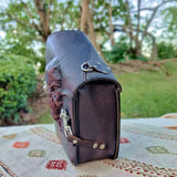 Handcrafted Brown Leather Motorcycle Left Side Saddle Bag - Motorcycle Swingarm Bag with Skull Design