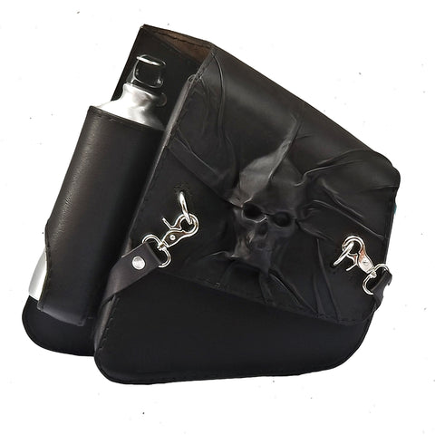 Handcrafted Black Leather Motorcycle Skull Left Side Solo Saddle Bag - Harley Davidson Swingarm Bag with Skull Design