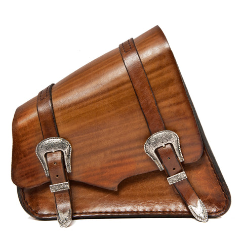 Handcrafted Brown Leather Motorcycle Right Side Saddle Bag - Universal - Harley Davidson Swingarm Bag