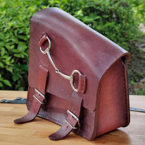 Handcrafted Brown Leather Left Side Motorcycle Saddle Bag - Universal - Harley Davidson Swingarm Bag