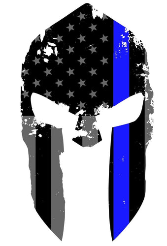 K9King Tattered Spartan Helmet US Flag Subdued Molon Labe Reflective Decal with Thin Blue Line - K9King
