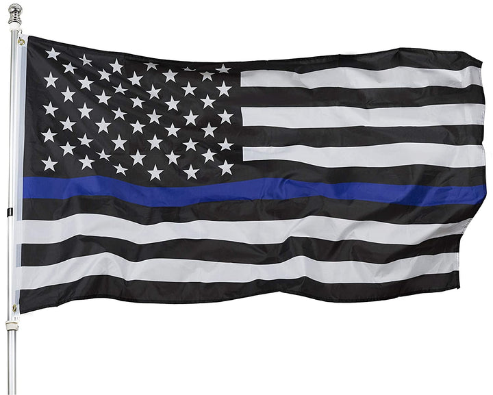 Thin Blue Line American Flag - 3 by 5 Foot Flag Honoring our Men and Women of Law Enforcement- Black, White, and Blue with Brass Grommets - K9King