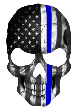 K9King Skull Subdued Thin Blue Line American Flag Sticker. 6 x 4 inch Reflective Police Support Decal - K9King