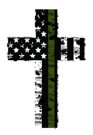 K9King Thin Green Line Cross Reflective (2) Pack. Show Your Support for Our Military Men and Women - K9King