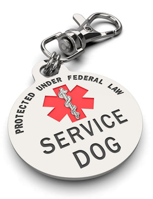 DOUBLE SIDED SERVICE DOG Tag with Red Medical Alert Symbol 1.25 inch - K9King