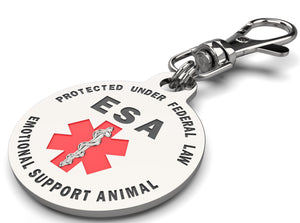 "Emotional Support Animal (ESA) Tag 1.25"" inch Double Sided with Red Medical Alert Symbol - K9King"