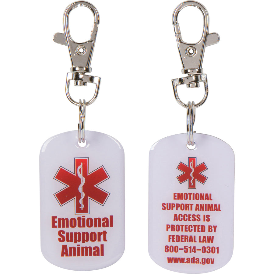 2 DOUBLE SIDED Emotional Support Animal (ESA) with Red Medical Alert Symbol 1.25 inch Durable ID Tag. QUICK RELEASE metal lobster clamp allowing you to switch between collars and vest. - K9King