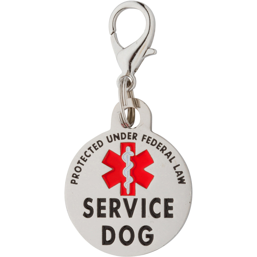 K9King Double Sided Service Dog Tag SMALL Breed Federal Protection. Easily attach to Collar Harness Vest