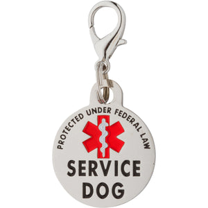 K9King Double Sided Service Dog Tag SMALL Breed Federal Protection. Easily attach to Collar Harness Vest - K9King