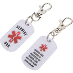 K9King SERVICE DOG ID Tags 2 pack COMBO Bright Double Sided with Red Medical Alert Symbol. Easily switch between collars harness and vest.