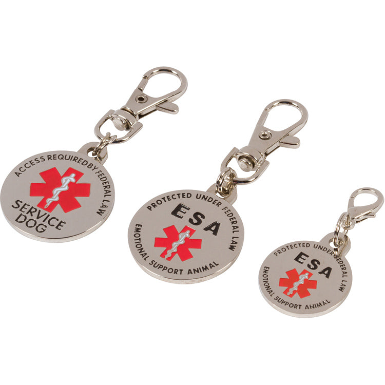 DOUBLE SIDED Emotional Support Animal (ESA) Tag with Red Medical Alert Symbol - K9King