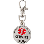 DOUBLE SIDED SERVICE DOG Federal Protection Tag with Red Medical Alert Symbol 1.25 inch. Easily attach to Collar Harness Vest