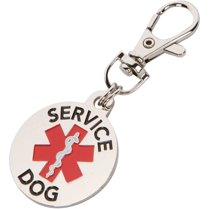 Service Dog Tag Medium to Large Breed Double Sided Red Medical Alert Symbol 1.25 inch ID Tag. Easily Switch Between Service Dog Vest Collars and Harness - K9King