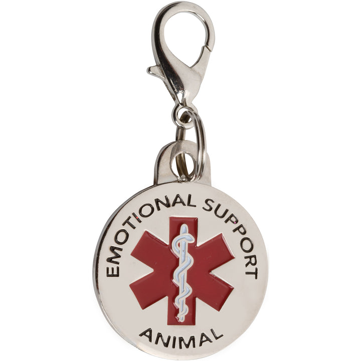 "K9King Emotional Support Animal (ESA) Tag Double Sided Red Medical Alert Symbol 1.25"" inches. Easily Switch Between Collars Harness and Vest. - K9King"