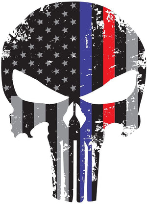 K9King Punisher Skull Tattered Subdued Us Flag Reflective Decal with Thin Blue and Red Line - K9King
