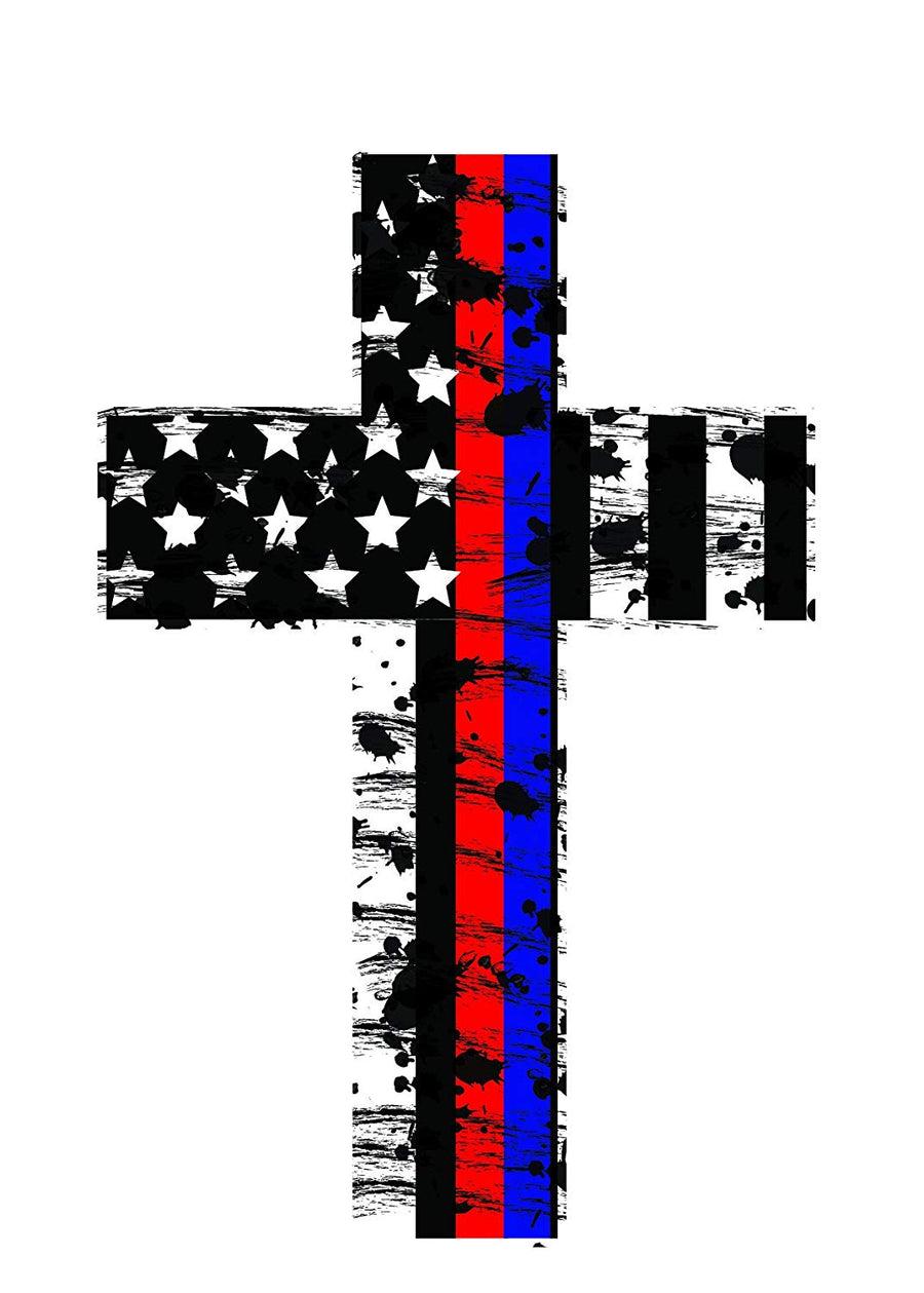 K9King Thin Red and Blue Line Crosses (2 Pack) Highly Reflective. Subdued Us Flag Reflective Decal Honoring Our Firefighters, Police, EMT, and Paramedics - K9King