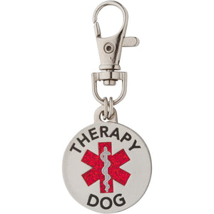 Therapy Dog Tag Double Sided with Glitter Filled Red Medical Symbol. Easily Switch Between Collar Harness and Vest - K9King