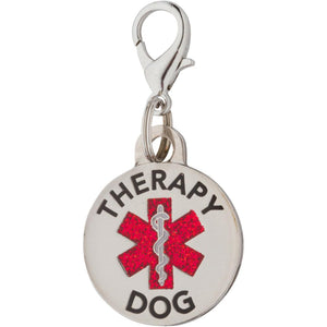 K9King Therapy Dog Tag Small Breed Double Sided with Glitter Filled Red Medical Symbol. Attach to Collar Harness Vest - K9King