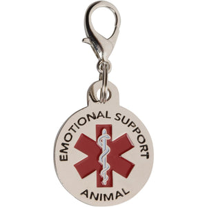 Emotional Support Animal Tag ESA Tags for Small Dogs. Red Medical Alert Symbol .999 inch Service Dog Vest ID Tag. Quick Release Lobster clamp Allowing Switching from Harness Collars and Vest. - K9King