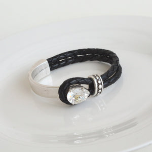 PRISCILLA BLACK LEATHER ACCENT BRACELET